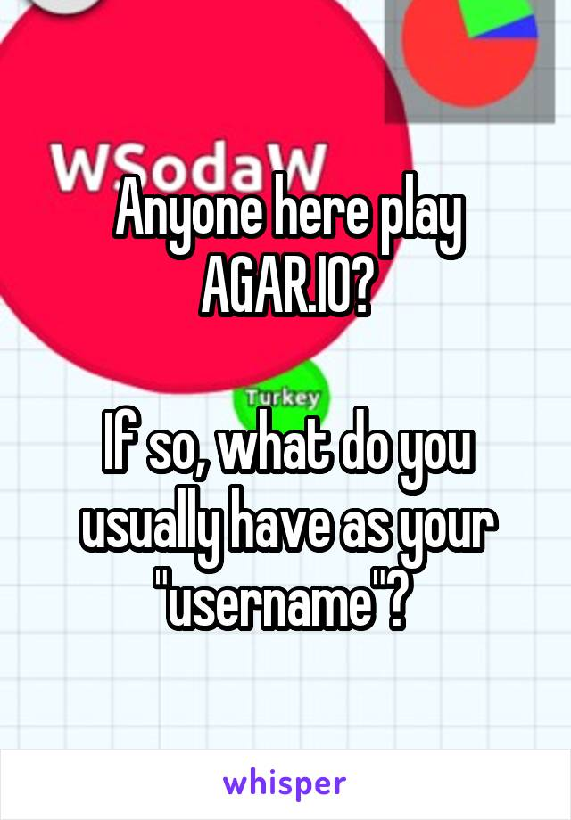 """Anyone here play AGAR.IO?  If so, what do you usually have as your """"username""""?"""