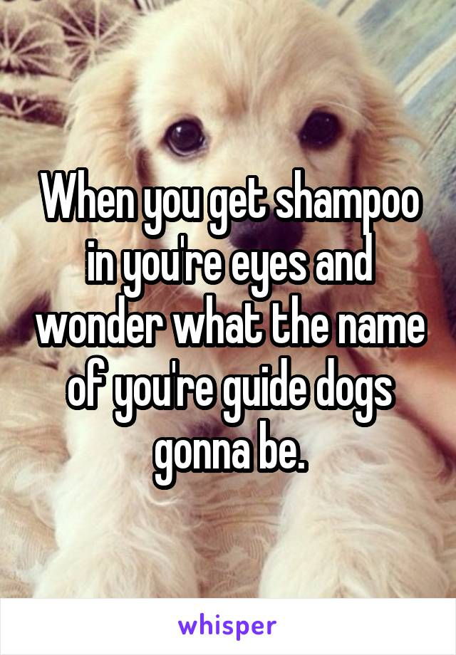 When you get shampoo in you're eyes and wonder what the name of you're guide dogs gonna be.