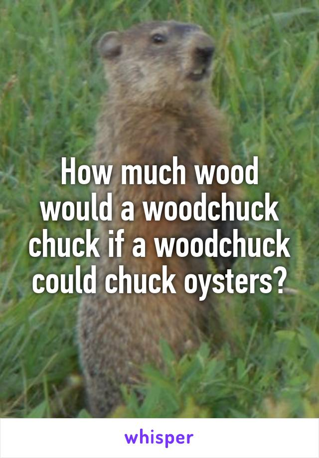 How much wood would a woodchuck chuck if a woodchuck could chuck oysters?