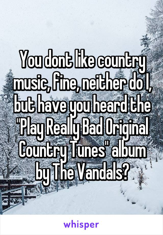 """You dont like country music, fine, neither do I, but have you heard the """"Play Really Bad Original Country Tunes"""" album by The Vandals?"""