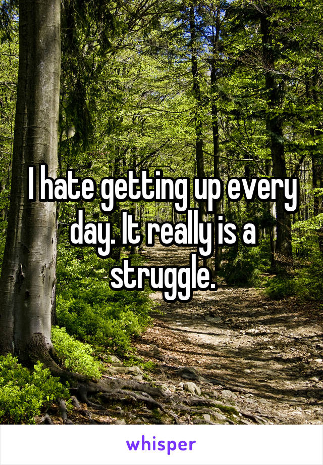 I hate getting up every day. It really is a struggle.