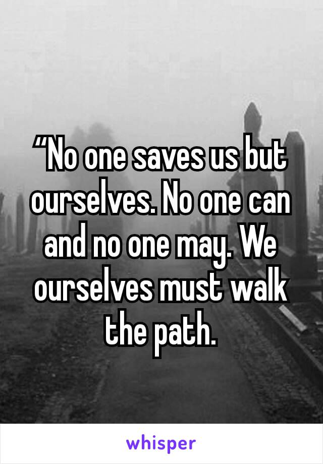 """""""No one saves us but ourselves. No one can and no one may. We ourselves must walk the path."""