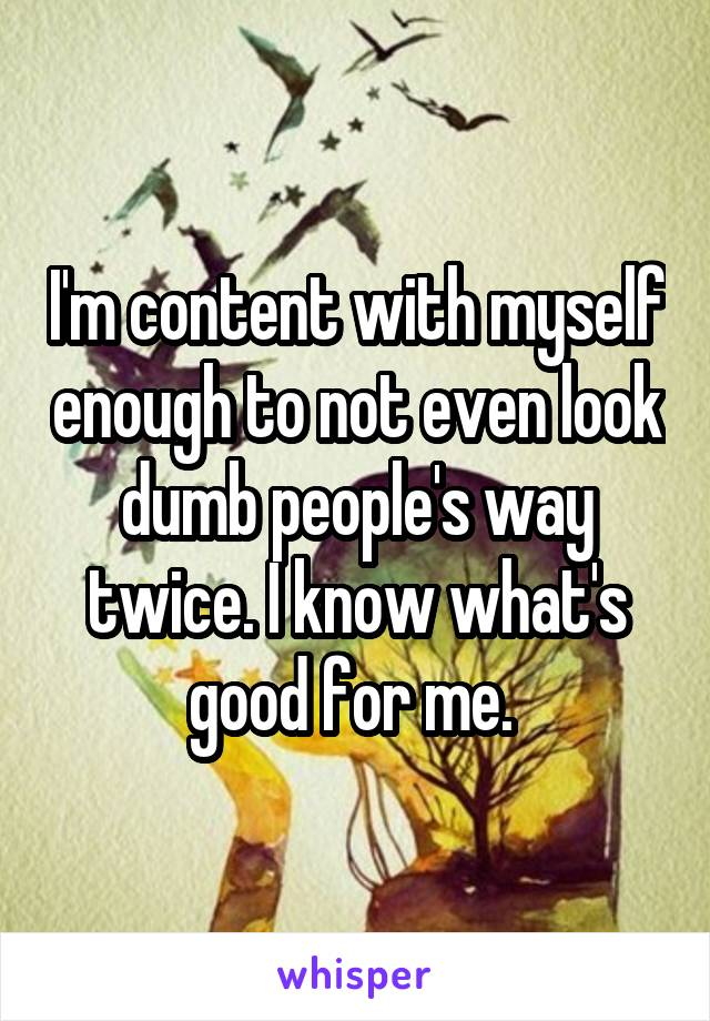 I'm content with myself enough to not even look dumb people's way twice. I know what's good for me.