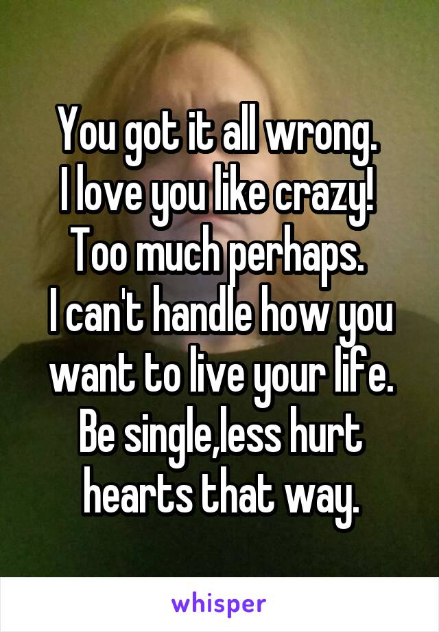 You got it all wrong.  I love you like crazy!  Too much perhaps.  I can't handle how you want to live your life. Be single,less hurt hearts that way.