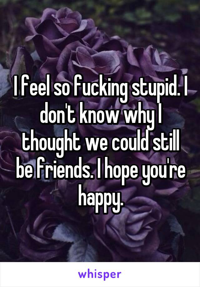 I feel so fucking stupid. I don't know why I thought we could still be friends. I hope you're happy.
