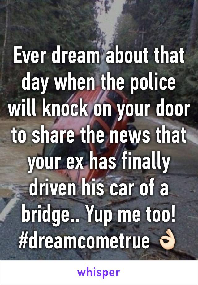 Ever dream about that day when the police will knock on your door to share the news that your ex has finally driven his car of a bridge.. Yup me too! #dreamcometrue 👌🏻
