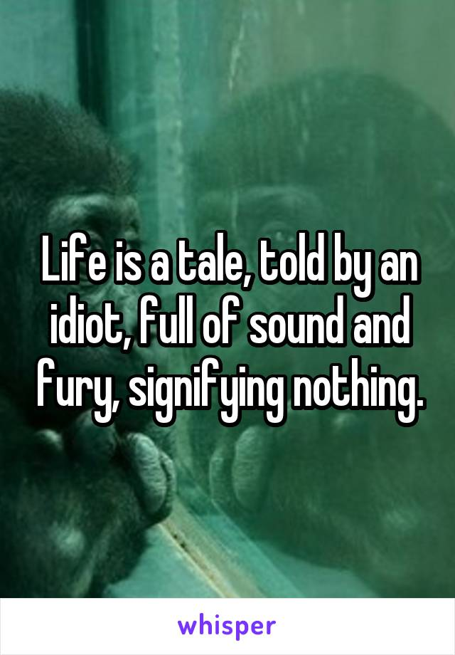 Life is a tale, told by an idiot, full of sound and fury, signifying nothing.