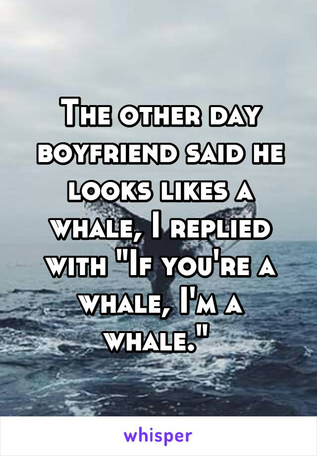 """The other day boyfriend said he looks likes a whale, I replied with """"If you're a whale, I'm a whale."""""""