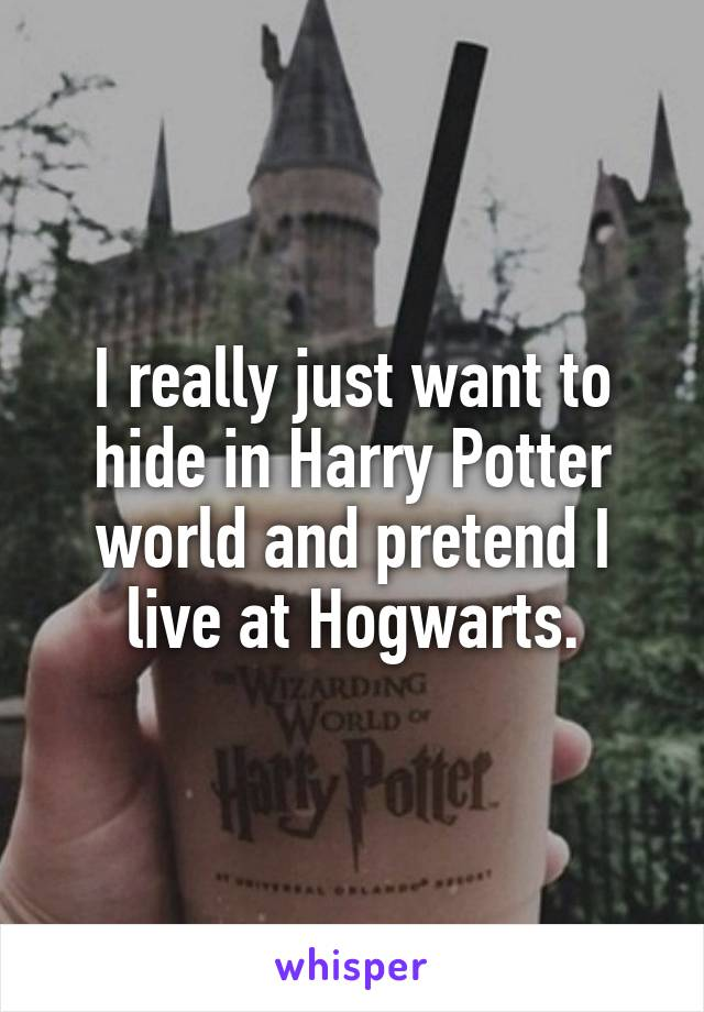 I really just want to hide in Harry Potter world and pretend I live at Hogwarts.