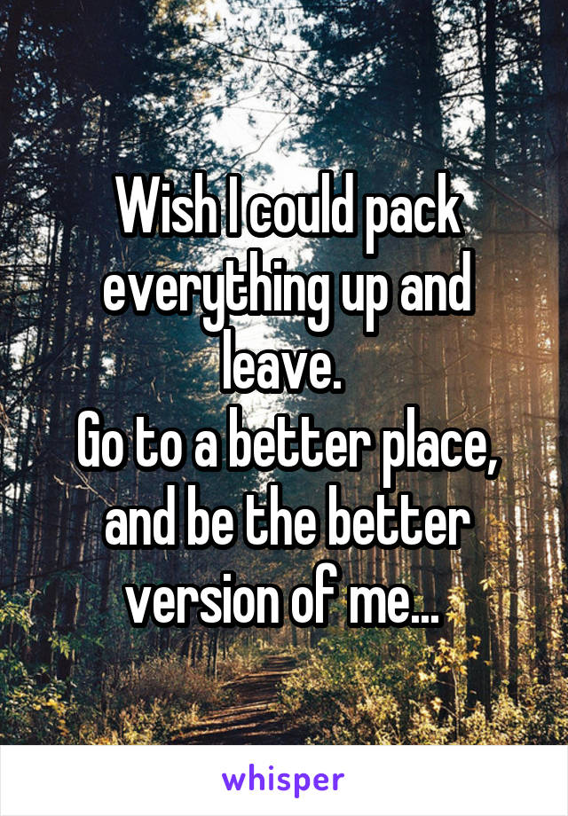 Wish I could pack everything up and leave.  Go to a better place, and be the better version of me...