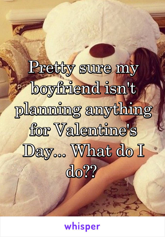Pretty sure my boyfriend isn't planning anything for Valentine's Day... What do I do??
