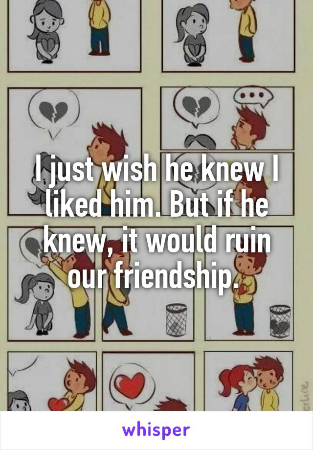 I just wish he knew I liked him. But if he knew, it would ruin our friendship.