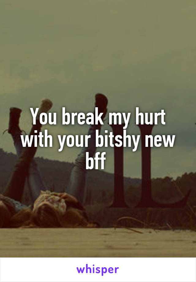 You break my hurt with your bitshy new bff