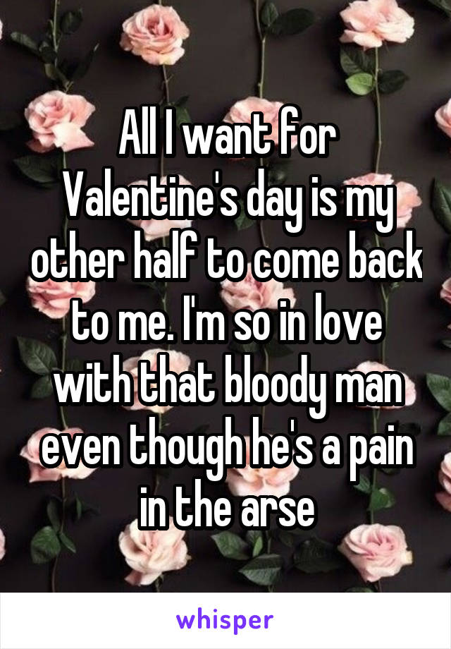 All I want for Valentine's day is my other half to come back to me. I'm so in love with that bloody man even though he's a pain in the arse
