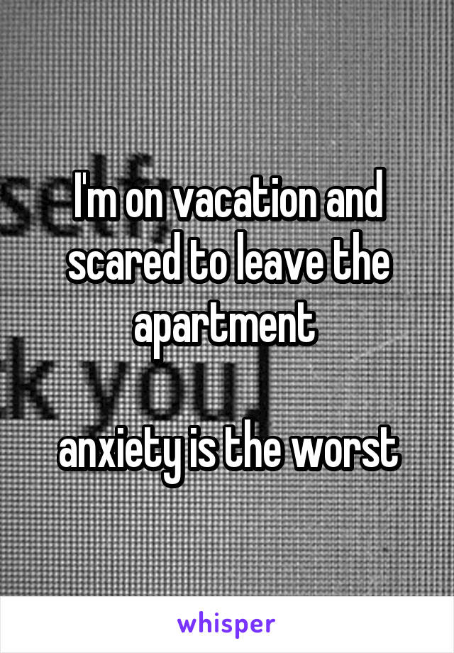 I'm on vacation and scared to leave the apartment   anxiety is the worst