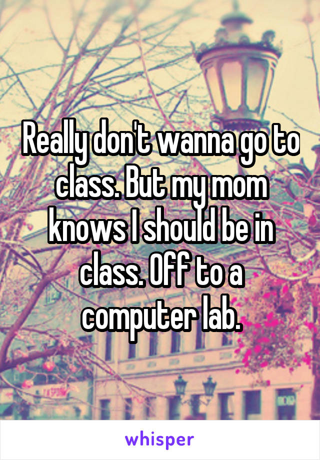 Really don't wanna go to class. But my mom knows I should be in class. Off to a computer lab.