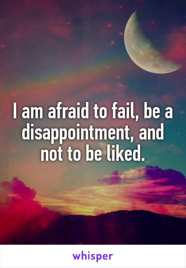 I am afraid to fail, be a disappointment, and not to be liked.