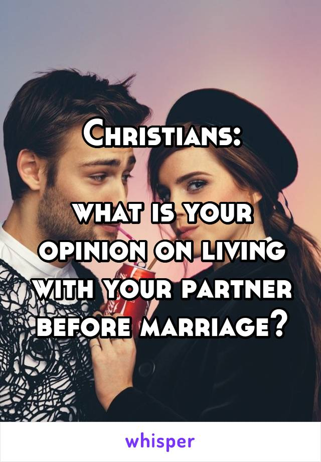Christians:  what is your opinion on living with your partner before marriage?