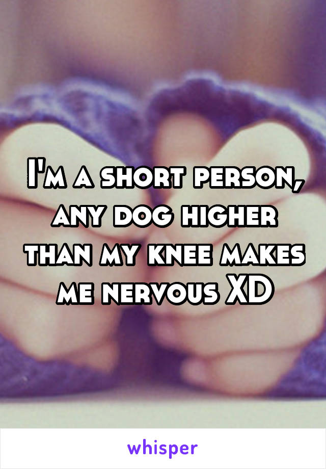 I'm a short person, any dog higher than my knee makes me nervous XD