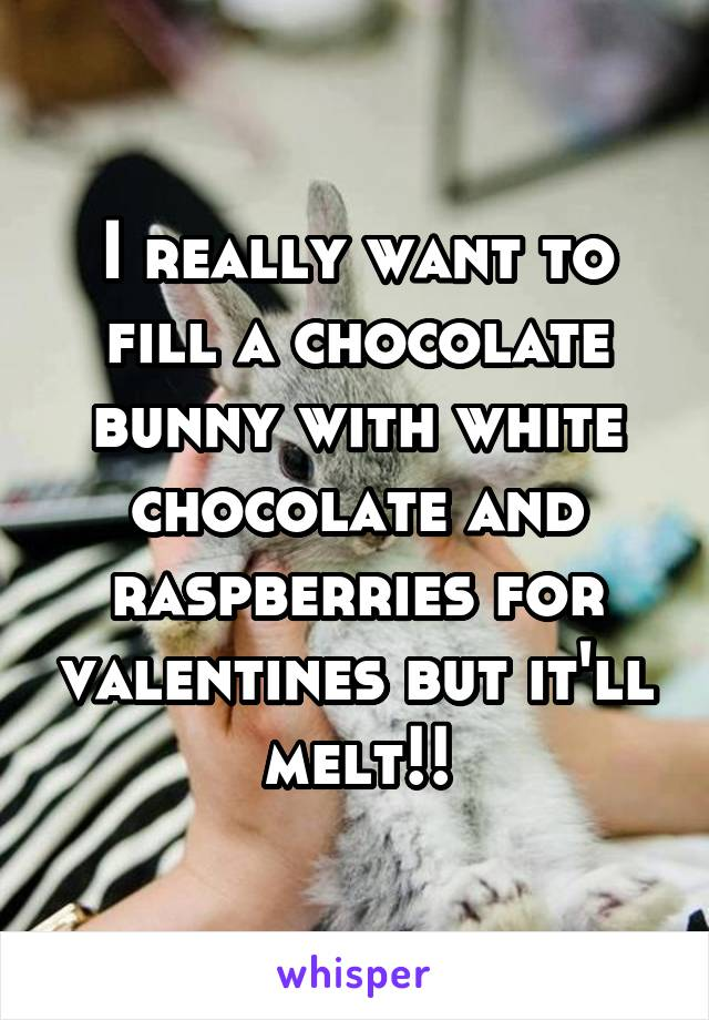 I really want to fill a chocolate bunny with white chocolate and raspberries for valentines but it'll melt!!