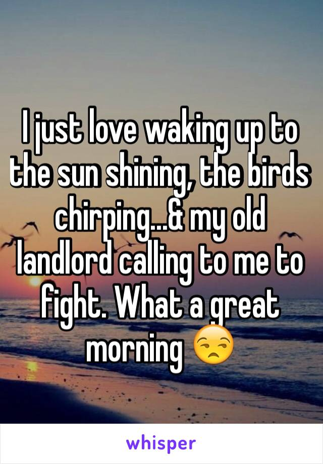 I just love waking up to the sun shining, the birds chirping...& my old landlord calling to me to fight. What a great morning 😒