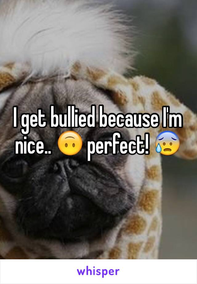 I get bullied because I'm nice.. 🙃 perfect! 😰