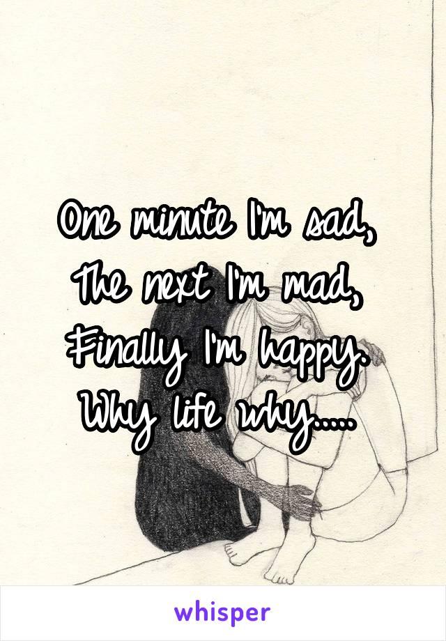 One minute I'm sad,  The next I'm mad,  Finally I'm happy.  Why life why.....