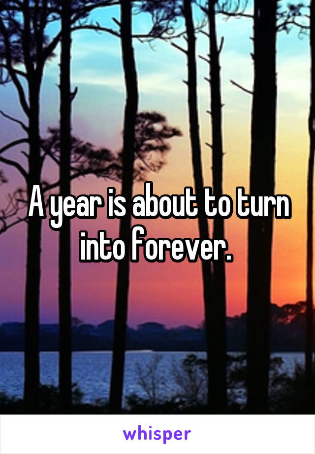 A year is about to turn into forever.