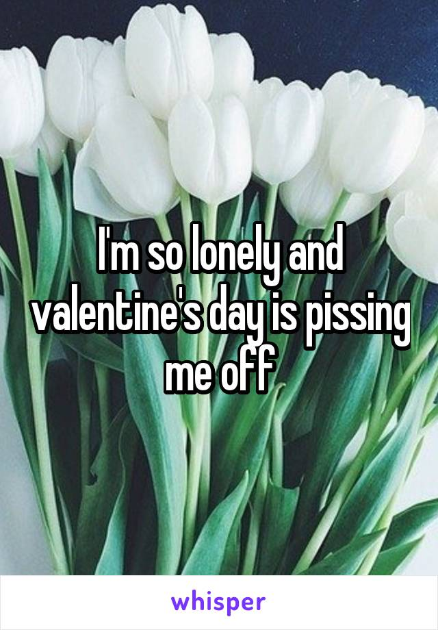 I'm so lonely and valentine's day is pissing me off