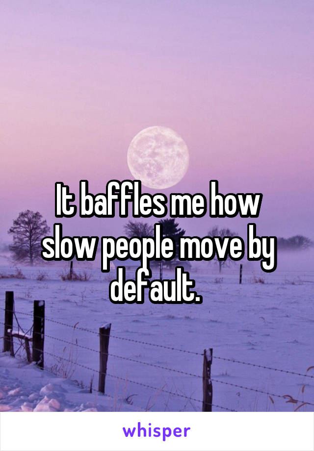 It baffles me how slow people move by default.