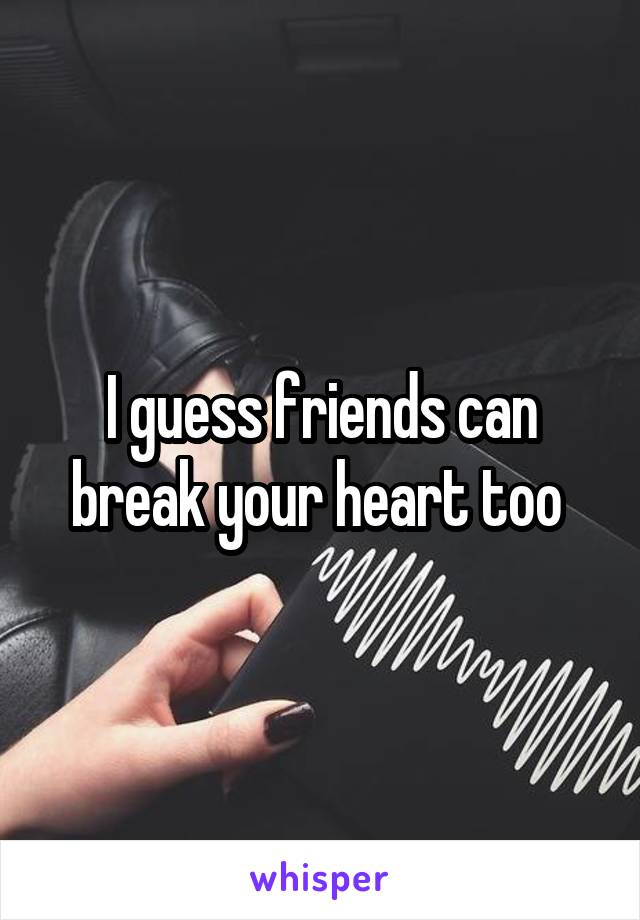 I guess friends can break your heart too