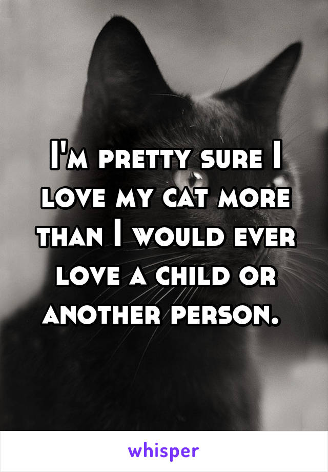 I'm pretty sure I love my cat more than I would ever love a child or another person.