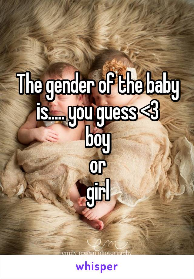 The gender of the baby is..... you guess <3 boy or girl