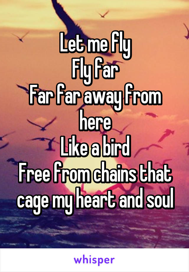 Let me fly Fly far Far far away from here Like a bird Free from chains that cage my heart and soul