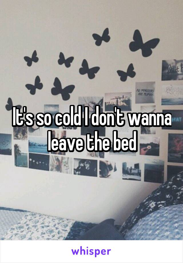 It's so cold I don't wanna leave the bed