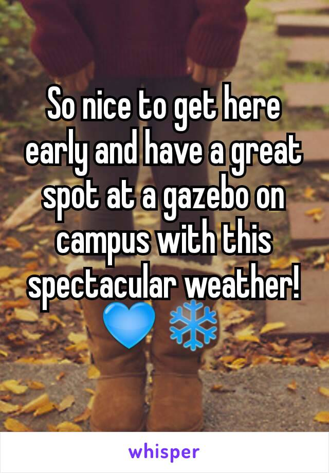 So nice to get here early and have a great spot at a gazebo on campus with this spectacular weather! 💙 ❄