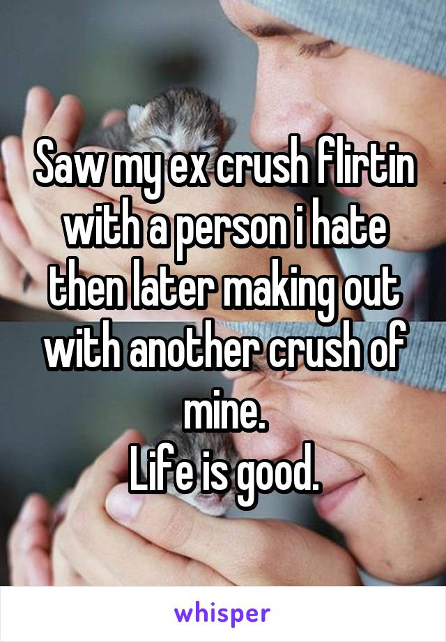 Saw my ex crush flirtin with a person i hate then later making out with another crush of mine. Life is good.