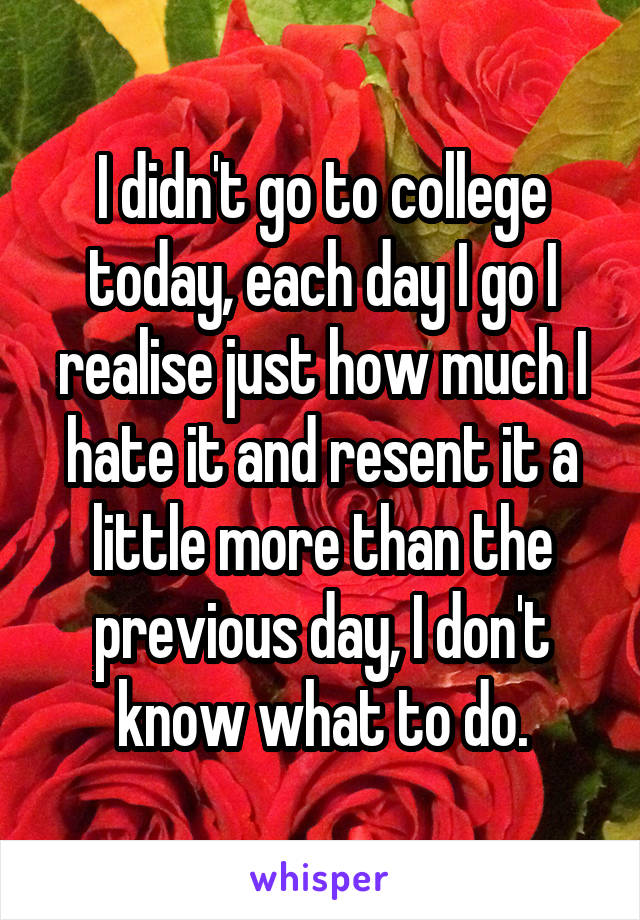 I didn't go to college today, each day I go I realise just how much I hate it and resent it a little more than the previous day, I don't know what to do.