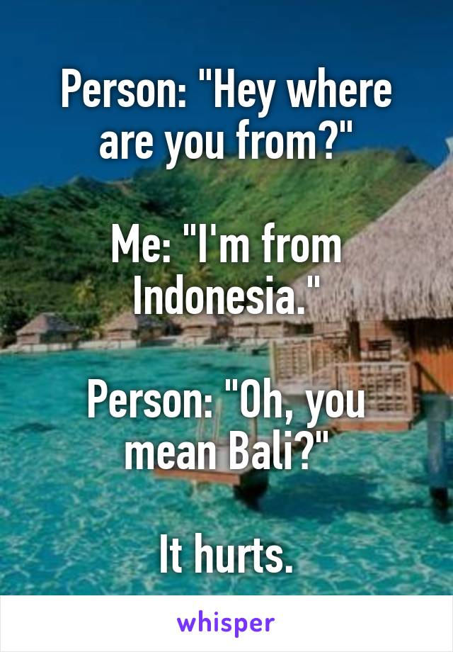 """Person: """"Hey where are you from?""""  Me: """"I'm from Indonesia.""""  Person: """"Oh, you mean Bali?""""  It hurts."""
