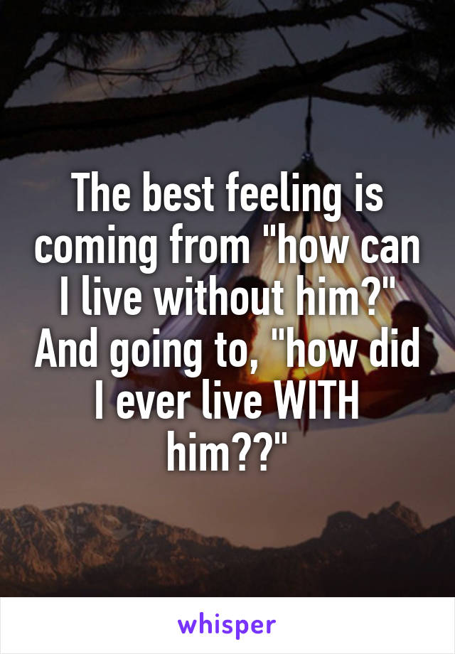"""The best feeling is coming from """"how can I live without him?"""" And going to, """"how did I ever live WITH him??"""""""