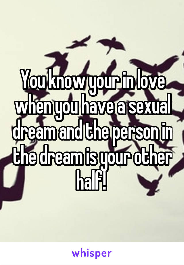 You know your in love when you have a sexual dream and the person in the dream is your other half!