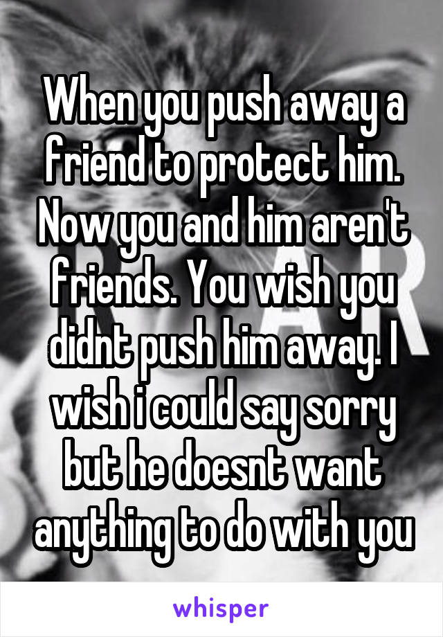 When you push away a friend to protect him. Now you and him aren't friends. You wish you didnt push him away. I wish i could say sorry but he doesnt want anything to do with you