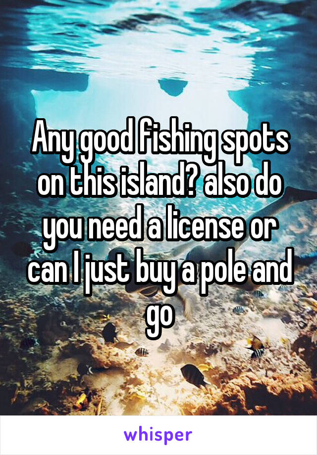 Any good fishing spots on this island? also do you need a license or can I just buy a pole and go