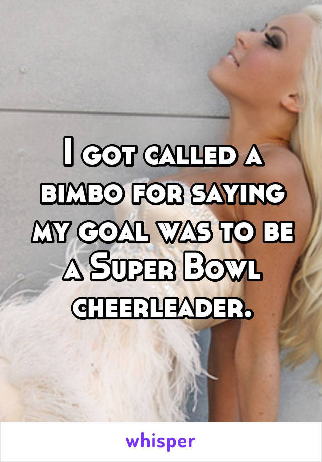 I got called a bimbo for saying my goal was to be a Super Bowl cheerleader.