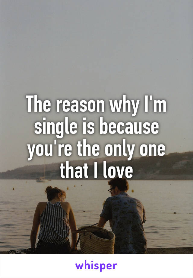 The reason why I'm single is because you're the only one that I love