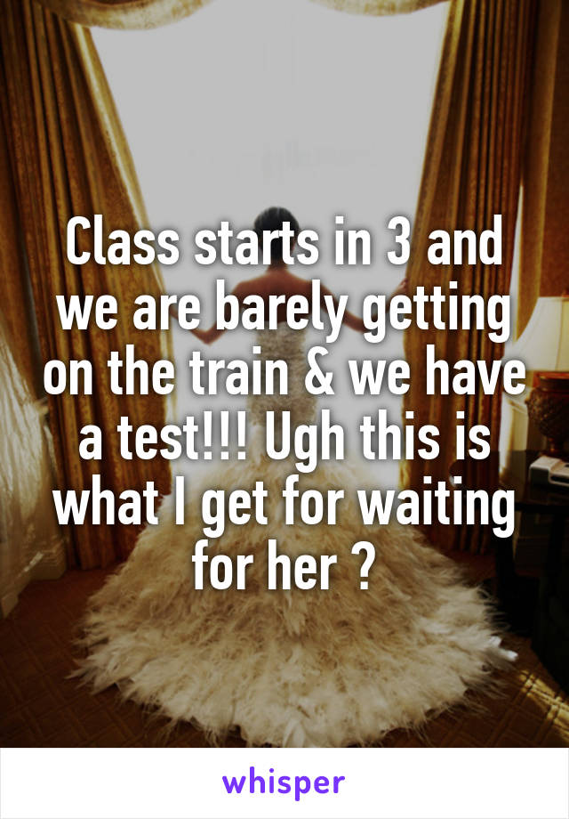 Class starts in 3 and we are barely getting on the train & we have a test!!! Ugh this is what I get for waiting for her 😡