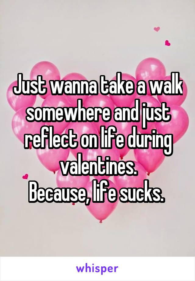 Just wanna take a walk somewhere and just reflect on life during valentines. Because, life sucks.