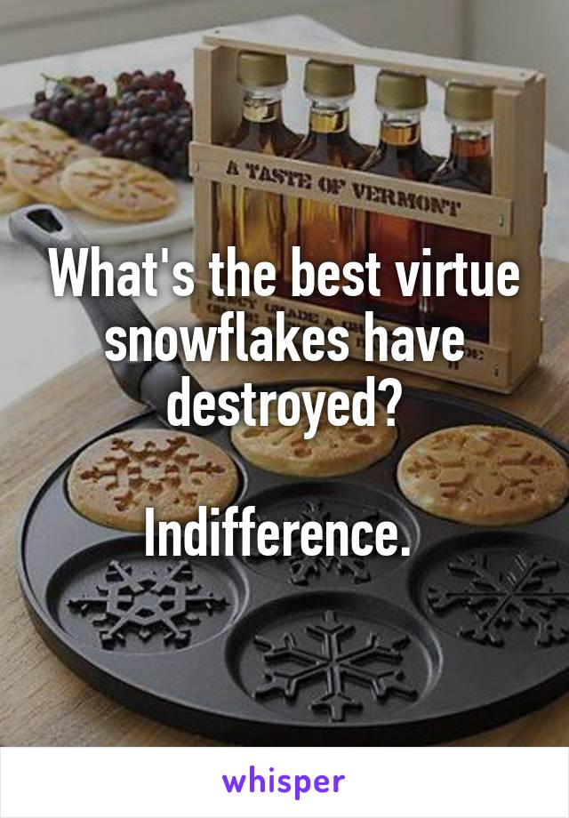 What's the best virtue snowflakes have destroyed?  Indifference.