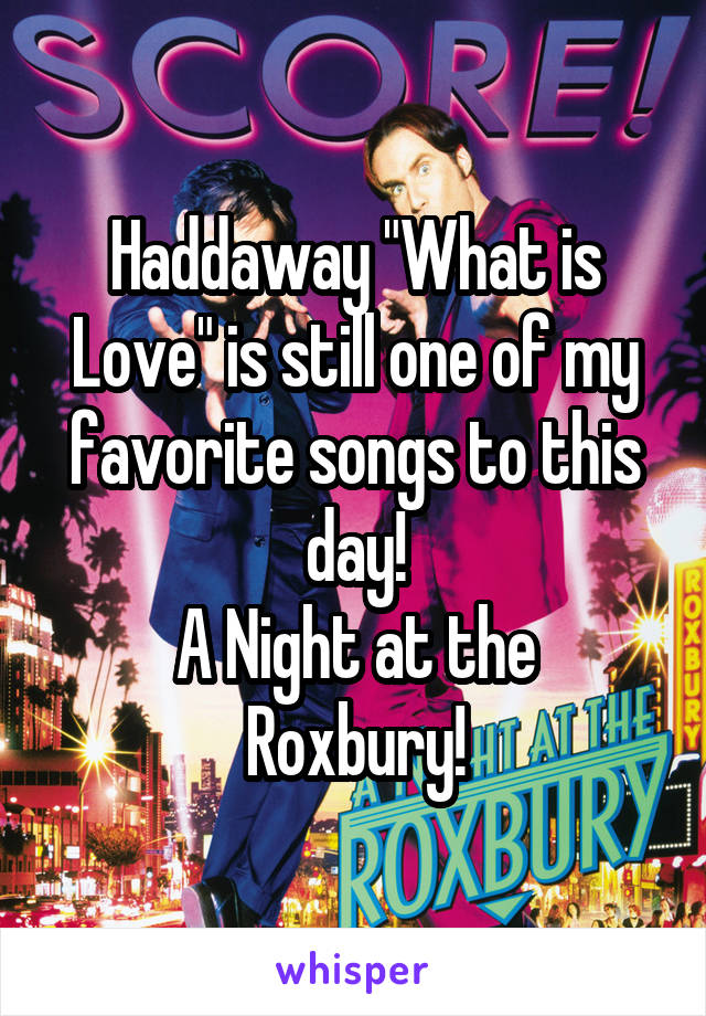 "Haddaway ""What is Love"" is still one of my favorite songs to this day! A Night at the Roxbury!"