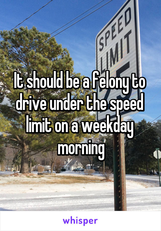 It should be a felony to  drive under the speed  limit on a weekday  morning